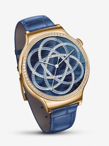 New Huawei Watch Jewel featuring blue leather strap, with the rose gold-plated case encrusted with Swarovski ...
