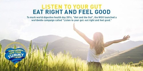 "The WGO launches a worldwide campaign called ""Listen to your gut: eat right and feel good,"" which aims to encourage people to discover the influence diet has on the gut and overall health. (PRNewsFoto/Danone and WGO)"