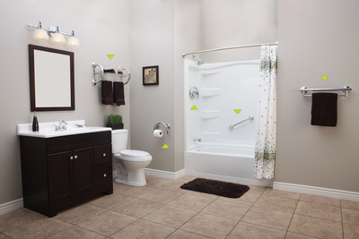 Grabcessories(TM) by Lifetime Products is the only safety grab bar product on the market offering a complete line of coordinating bathroom safety accessories.  Grabcessories(TM) are  designed to be both decorative and functional - seamlessly integrating as actual bathroom decor while providing the convenience of safety accessories that support up to 500lbs. The Grabcessories(TM) line includes a 2-in-1 toilet paper holder, dry towel shelf, towel bar, curved grab bar, and tub spout/shower valve. By installing the complete line of Grabcessories(TM), users can safely maneuver to all areas in the bathroom.  (PRNewsFoto/Lifetime Products)