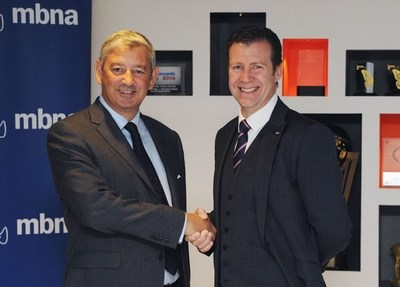 Michael Donald, Commercial and Payments executive and Trevor Pereira intu's digital and commercial director, launch the new commercial agreement between intu and MBNA (PRNewsFoto/MBNA Ltd)