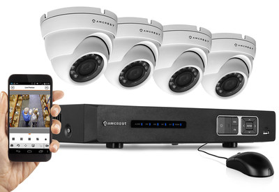Includes: Four 1.0 MP Weatherproof IP66 Dome Cameras - 65ft IR LED Night Vision - Long Distance Transmit Range (1,640ft) - Pre-Installed 1TB HD for 360 Hours 8Ch Recording 720p @ 30fps - Quick QR Code Smartphone Access and USB Backup