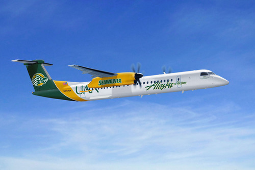 The beloved University of Alaska Anchorage and University of Alaska Fairbanks colors will be featured on two university-themed Q400 aircraft. (PRNewsFoto/Alaska Airlines) (PRNewsFoto/ALASKA AIRLINES)