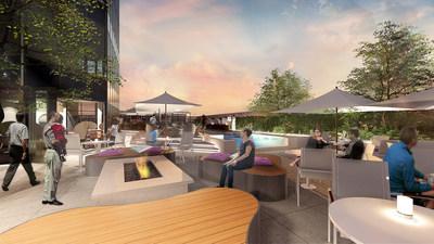 Hyatt Centric Waikīkī Beach dining and pool area rendering
