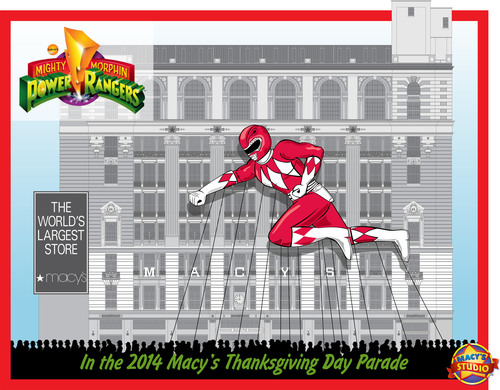 First-Ever Red Mighty Morphin Power Ranger Balloon Sketch for the 2014 Macy's Thanksgiving Day Parade(R) ...