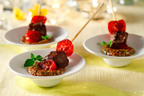 "Try Beef Pops with Grainy Mustard Sauce and other healthy, festive finger food made with canola oil from Ellie Krieger and CanolaInfo's ""Engaging Appetizers"" recipe collection at www.canolainfo.org.  (PRNewsFoto/CanolaInfo)"