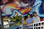 New World School of the Arts college visual artists, Jeffrey Noble and Sebastian Duncan-Portuondo, surrounded by TIMESCAPES, the mural they created at the Sagamore Hotel, Miami Beach Florida.  (PRNewsFoto/New World School of the Arts, Juan E. Cabrera)