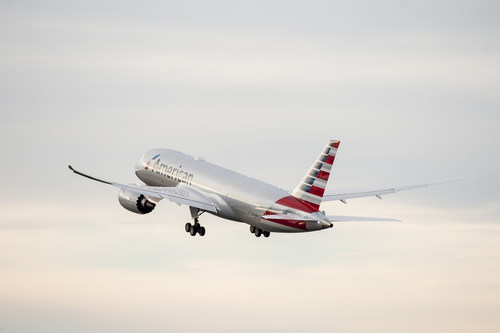American's first Boeing 787 Dreamliner departing on its maiden test flight on Jan. 6, 2015.
