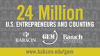 Researchers at Babson and Baruch Colleges count 24 million American Entrepreneurs - among the highest level in the developed world; job creation and optimism rise; fear of failure declines