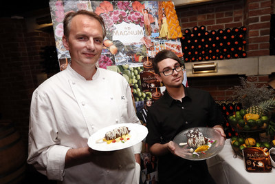 "James Beard Award-winning chef Andrew Carmellini, left, debuts the ""MAGNUM(R) Double Caramel Cool Down"" as fashion designer Christian Siriano presents ""America's Most Fashionable Chocolate Dessert"" at Chef Carmellini's restaurant Lafayette, Wednesday, July 9, 2014 in New York.  The decadent desserts created by Chef Carmellini feature signature MAGNUM chocolate and were inspired by Siriano's seasonal fashion trends..."