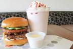 Loaded Spud Burger and Raspberry Shake