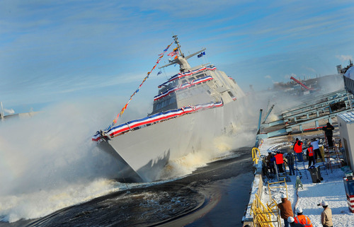 The Lockheed Martin-led industry team celebrated the launch of the  nation's fifth Littoral Combat Ship, the future USS Milwaukee. The ship was officially christened on Wednesday, Dec. 18, 2013, by Mrs. Sylvia M. Panetta prior to launch at the Marinette Marine Corporation shipyard in Marinette, Wisconsin.  (PRNewsFoto/Lockheed Martin)