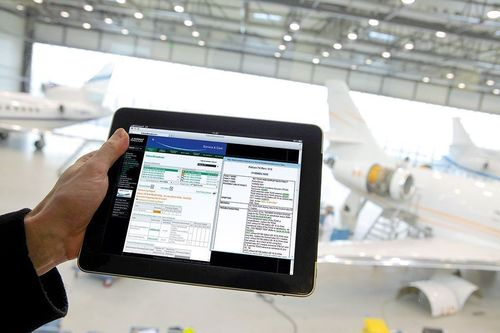 In-flight maintenance data are instantly transmitted to ground staff through FalconBroadcast service.