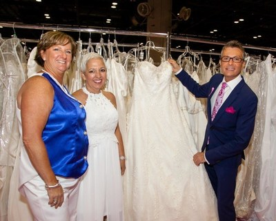 """Say Yes to the Dress"" TV Star, Randy Fenoli, offers some wedding style tips to cancer survivor bride-to-be, Jeanette Bokland of Orlando, (center) and her partner Linda Bokland (left).   The couple participated in a fashion show as part of the Brides Against Breast Cancer ""Nationwide Tour of Gowns"" stop in Orlando, October 9. Repurposed wedding gowns worn by cancer survivors were created by fashion students from Sanford Brown College Orlando. PHOTO CREDIT:  The Pro's. (PRNewsFoto/Brides Against Breast Cancer)"