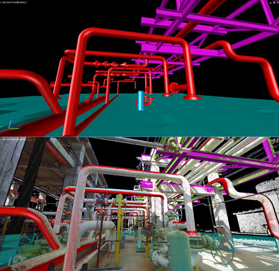 kubit's PointSense Plant software used to extract piping and structural models in AutoCAD from point cloud data of a petrochemical facility scanned using the FARO Focus 3D.