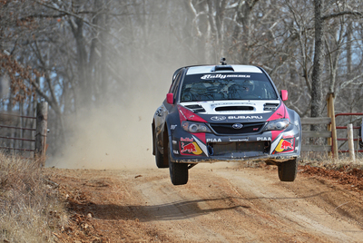 Travis Pastrana marked his return to Subaru with a podium finish at Rally in the 100 Acre Wood.  (PRNewsFoto/Subaru of America, Inc.)