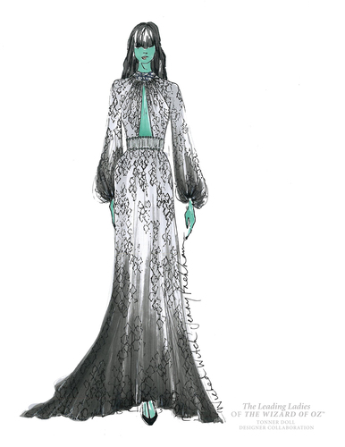 Jenny Packham's sketch of the Wicked Witch of the West's costume for Warner Bros. Consumer Products and Tonner Doll's Leading Ladies of The Wizard of Oz program (PRNewsFoto/Warner Bros. Consumer Products)