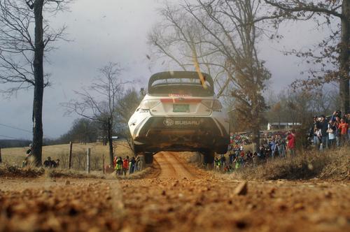 Travis Pastrana flies in his Subaru at Rally in the 100 Acre Wood. (PRNewsFoto/Subaru of America, Inc.) ...