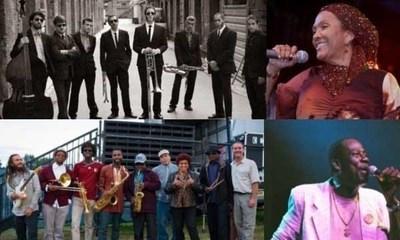 Clockwise from top; Soweto Ska Band, Marcia Griffiths, Leroy Sibbles, and the Skatalites