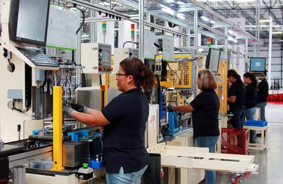 Production line of the LG Innotek automotive components plant in San Juan del Rio, Mexico