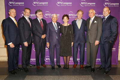 Dr. Robert I. Grossman, Dean and CEO of NYU Langone Medical Center, Dr. Joseph Zuckerman, Dr. Steven Abramson, honorees Dr. Phil Moskowitz and Judith and Stewart Colton, with Ken Langone and Gary Cohn at NYU Langone's 2016 Musculoskeletal Ball.