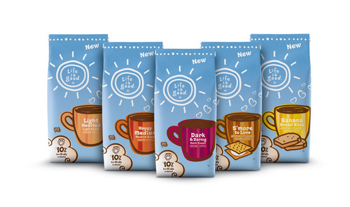 Life is good Brews Happiness with New Coffee Line. (PRNewsFoto/Life is good) (PRNewsFoto/LIFE IS GOOD)