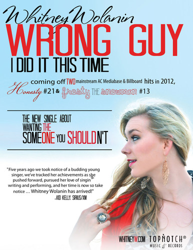 Whitney Wolanin - 'Wrong Guy' single.  (PRNewsFoto/TopNotch Records)