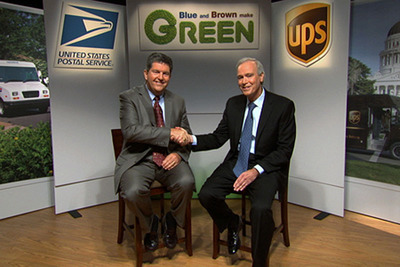 Blue and Brown Make Green! USPS-UPS public-private partnership helps customers, environment, bottom line.  (PRNewsFoto/U.S. Postal Service)