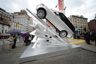 "Land Rover and Architectural Digest unveil a one-of-a-kind art installation titled ""Climbing Up,"" created by HWKN and Inspired by the aluminum structure of the 2013 Range Rover, in the ""Meatpacking"" district of New York City on June 6, 2013.  (PRNewsFoto/Land Rover North America)"