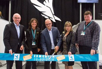 Terry Daniels (Managing Director, Impact Auto Auctions), Councillor Jackie McCuaig, (Division 2, Parkland County), Dave Tenk (Branch Manager, Impact Edmonton), Councillor Tracey Melnyk (Division 6, Parkland County) and Deputy Mayor John McNab (Parkland County) celebrate the grand opening of Impact Edmonton.