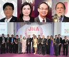 (Top, from left) Ramesh Virani, Director of KARP Group; Rita Maltez, Manager Greater China Representative Office, Diamonds Sales and Marketing at Rio Tinto Diamonds; Kent Wong, Managing Director of Chow Tai Fook Jewellery Group Limited; Recipient of the JNA  Lifetime Achievement Award 2012, Nicky Oppenheimer, former Chairman of the De Beers Group (Bottom) Group photo of most of the Recipients of the JNA Awards 2012.  (PRNewsFoto/UBM Asia Ltd)