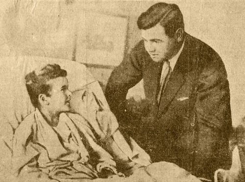 Archival newspaper image of Babe Ruth visiting Little Johnny Sylvester's bedside on October 11, 1926. Grey Flannel Auctions image. (PRNewsFoto/Grey Flannel Auctions) (PRNewsFoto/GREY FLANNEL AUCTIONS)