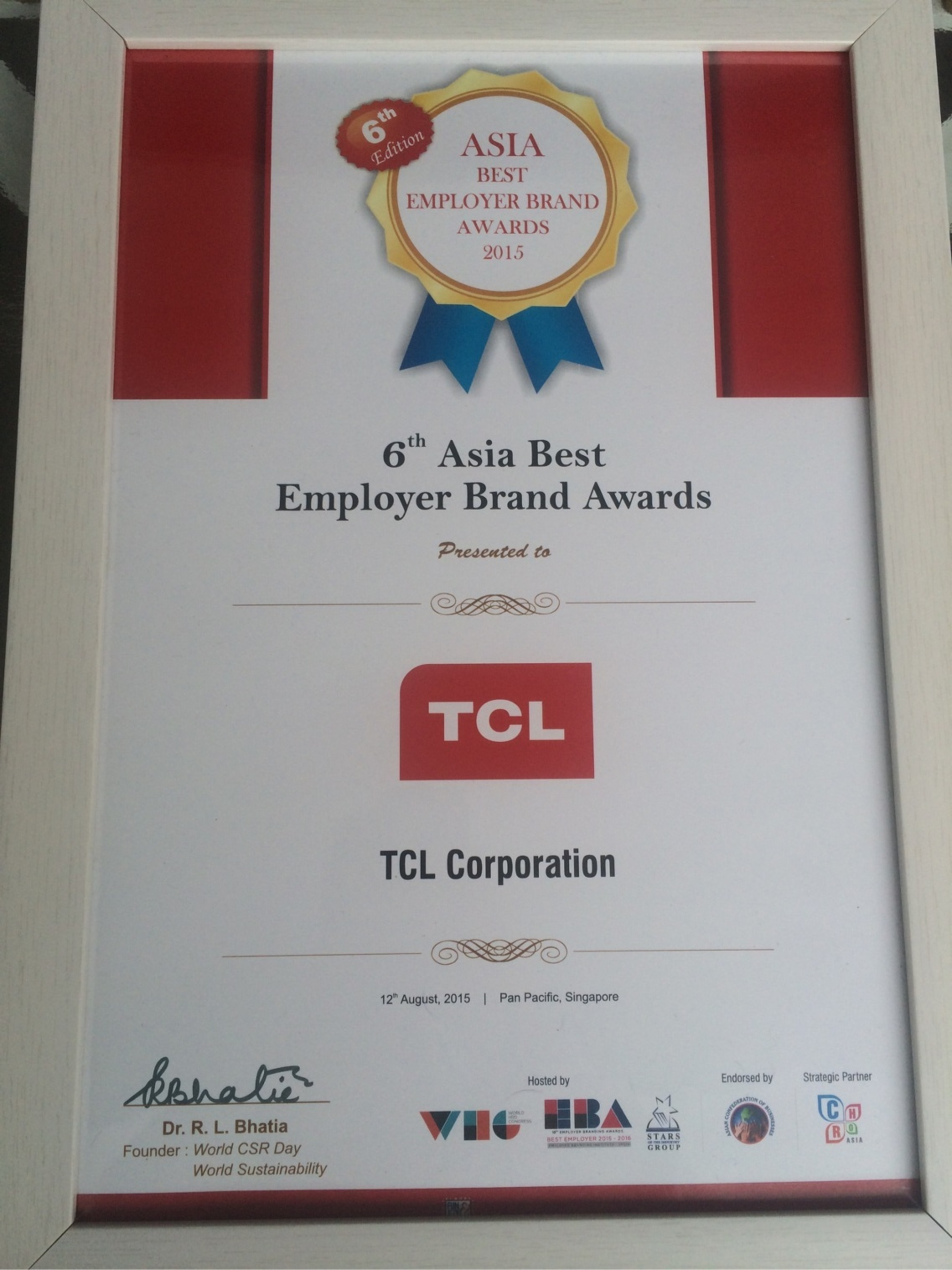 TCL Corporation winning 6th Asia Best Employer Brand Awards
