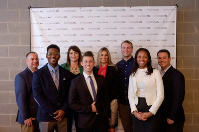 Finalists with Judges: (from left) Mike Guhl, Chris Triplett, Michelle Strader, Austin Mueller, Michaeline Roland, Peter Franconi, Karina Liles, Leo Tucker