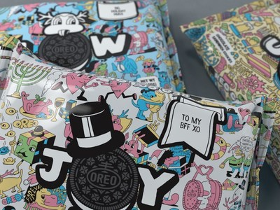 Available at shop.oreo.com OREO Colorfilled packs feature exclusive, illustrated designs from graphic artists Jeremyville and Timothy Goodman, to which consumers can also add some holiday flair and a custom gift tag.