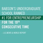 U.S. News & World Report has ranked Babson College No. 1 in entrepreneurship for an unprecedented 19th time.