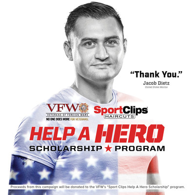 "Salute those who serve through Sport Clips Haircuts' ""Help A Hero"" scholarship campaign. To find out more, visit your local Sport Clips or SportClips.com."