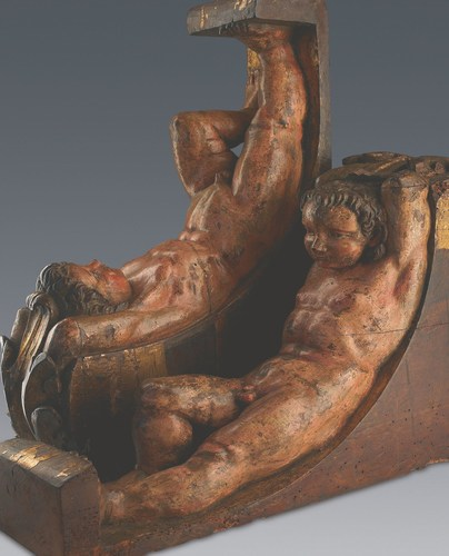 1 pair of sculptures (Atlantes consoles) Michelangelo Buonarroti. Study by the Art Research Foundation. ...