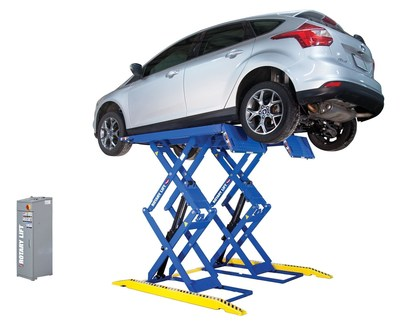 The new space-saving Rotary Lift RLP77 Double-Section Scissor Lift offers several innovative productivity features that make it a reliable and economical choice for smaller service bays.