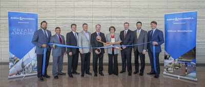 Burns & McDonnell celebrates the opening of its newest office in Fort Worth with a ribbon cutting with the Fort Worth Chamber of Commerce. Pictured left to right: Rod D'Spain, Gus Rodriguez, Chris Williams, Paul Fischer, Scott Clark, Pepper Sims, Kyle Lambert, John Schwartz and Tony Kimmey.