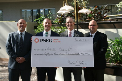 PSEG Long Island presents the Melville Marriott general manager with a Commercial Energy Efficiency rebate for the replacement of more than 5,700 inefficient lighting fixtures with energy-saving LED lighting.