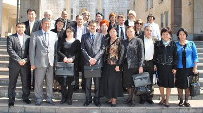 Inaugural meeting of Kyrgyzstan's NITAG - Front row, fourth from the left: Dr. Kaliev, vice minister of health; front row, third from the right: Dr. Babadzhanov, committee chair.