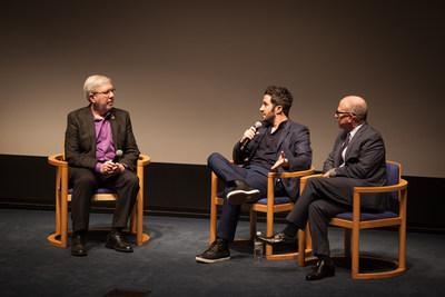 "Leonard Maltin, Aaron Wolf, and Rabbi Leder during ""Restoring Tomorrow"" Q&A"