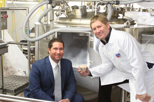 Dippin' Dots president Scott Fischer and CEO/Founder Curt Jones inside the Dippin' Dots production ...