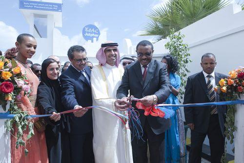 L-R: HH Sheikha Lubna Al Qasimi, UAE Minister of Foreign Trade, Dr Tedros Adhanom, Ethiopia Foreign Affairs Minister, HH Sheikh Faisal Bin Saqr Al Qasimi, Chairman of Julphar, HE Hailemariam Desalegn, Prime Minister of Ethiopia.