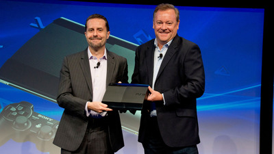 Andrew House, President and Group CEO of Sony Computer Entertainment Inc., and Jack Tretton, President and CEO of Sony Computer Entertainment America, display one of the first PlayStation(R)3 computer entertainment systems manufactured in Brazil.  (PRNewsFoto/Sony Computer Entertainment Inc.)