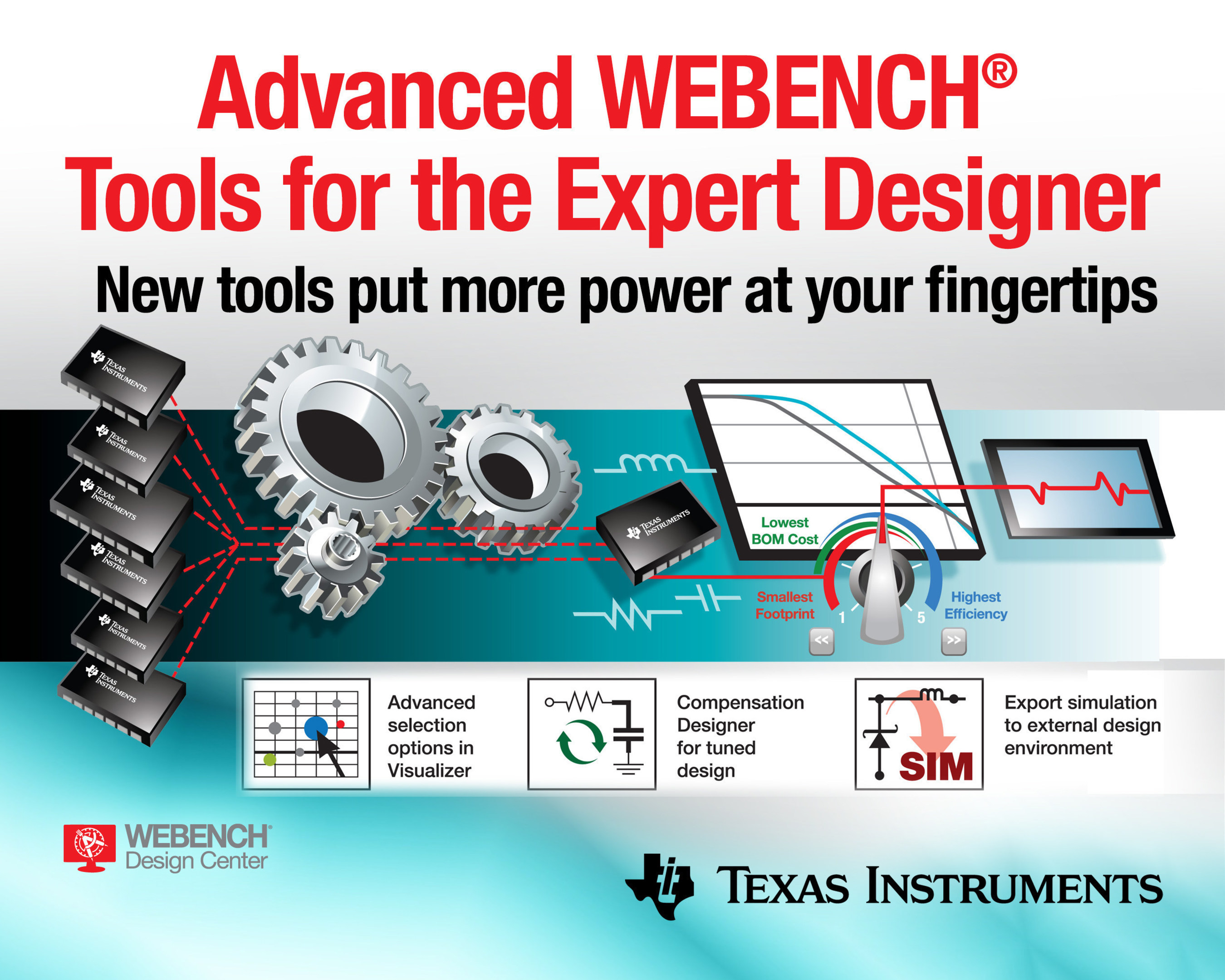 Advanced tools in WEBENCH� Power Designer provide experienced engineers with extensive design control, analysis and trouble-shooting capability to create complex power-supply designs. From control-loop compensation to simulation export, WEBENCH Power Designer now puts cutting-edge tools in the hands of expert design engineers to create power supplies for industrial, automotive and communications equipment.