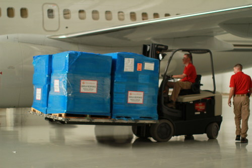 Ebola Outbreak: Emergency Medical Supplies from Direct Relief (directrelief.org) Loaded onto 737 Charter Flight for Liberia. (PRNewsFoto/Direct Relief)