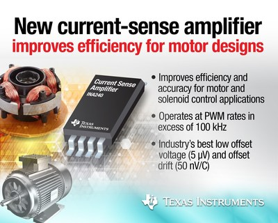 TI enables more efficient motor design with faster, more accurate current-sense amplifier