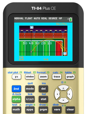"""TI's newest activity for the TI-84 Plus family of graphing calculators, """"Field Goal for the Win!,"""" shows students how sports and STEM subjects intersect."""