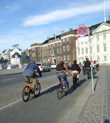 Bicycling in Copenhagen, a city whose ambition is to be the world's leading bicycle city by 2015.